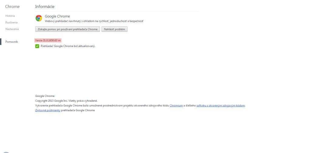 Ako zistiť verziu prehliadača Google Chrome