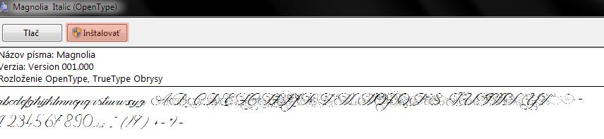 Inštalácia písma