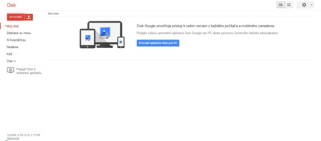 Hlavná stránka Google Drive