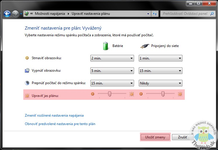 Ako nastaviť jas na Windows 7