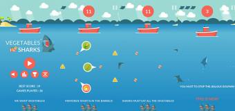 Nakŕm hladných žralokov s hrou Vegetables Sharks!